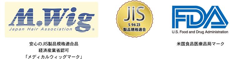 医療用ウィッグは日本工業規格「JIS」と「M.Wig」認定品